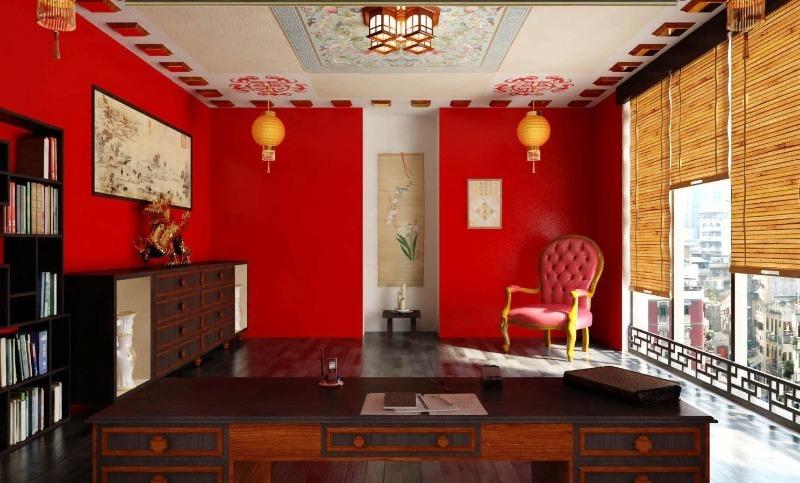 Комната с красными стенами