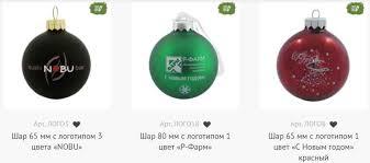 Новогодние украшения с логотипом для корпоративной елки